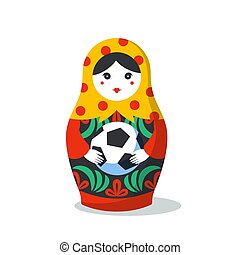 Russian Matrioshka. Russia symbol with soccer ball. Vector...
