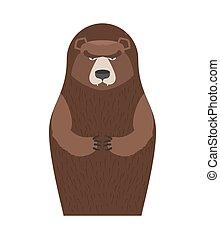 Russian Matryoshka bear. People souvenir. Traditional national toy doll.