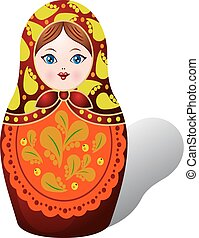 Russian matryoshka, Decolorized autumn leaves, cartoon on white background,