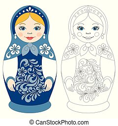 Russian matryoshka doll. Template for coloring book.