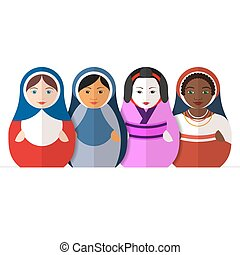 Russian matryoshka dolls in different traditional clothes