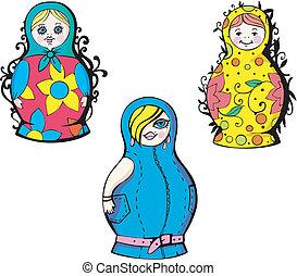 Russian matryoshka dolls. Set of color vector illustrations.
