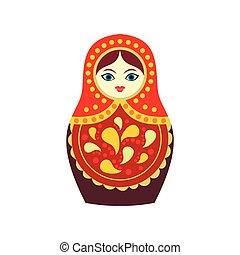 Russian matryoshka icon, flat style