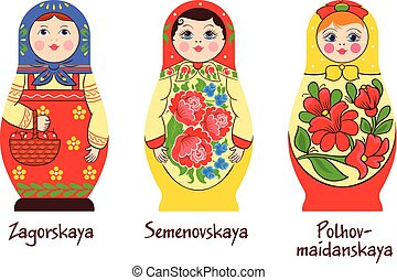 Russian Matryoshka Styles Collection - Russian traditional...