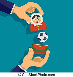 Russian matryoshka with a soccer ball. Traditional nesting...