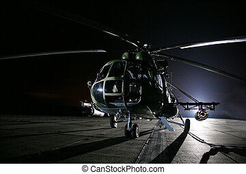 Russian military helicopters, night