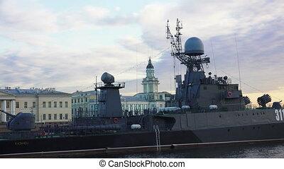 Russian military naval ship. Shot in 4K (ultra-high...