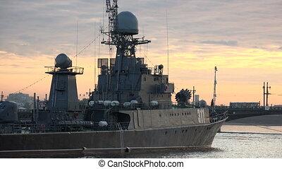 Russian military naval ship.