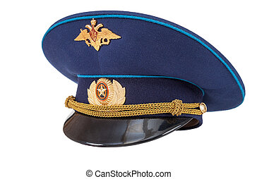 Russian military officer cap (Air Force) isolated on white
