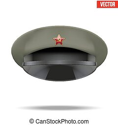 Russian Military officer peaked cap with red star on cockade...