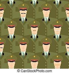 Russian military officers seamless pattern. Army background of people in uniform. Vector background. Russian soldiers police in dress uniform