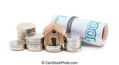Russian money and house on a white background