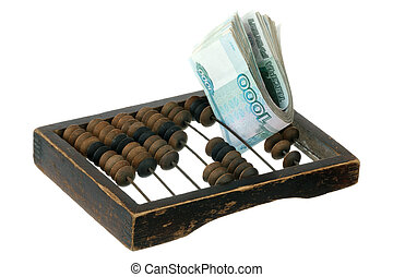 Russian money and old abacus