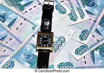 Russian money and watches