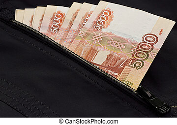 Russian money in the pocket of the jacket