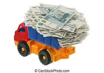 Russian money in the truck