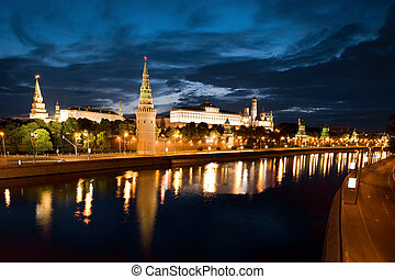 Russian Moscow Kremlin in morning