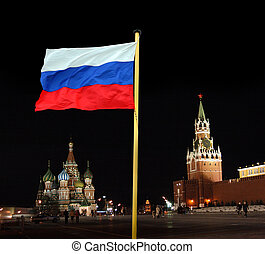 russian national flag on kremlin background - russian ...