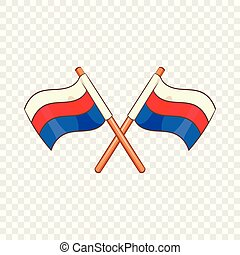 Russian national flags icon, cartoon style - Russian...