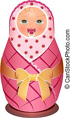 Russian national traditional wooden doll matreshka baby....