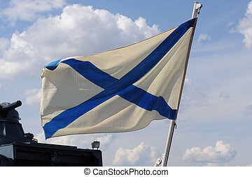 Russian Navy flag - Russian navy flag on the ship on the ...