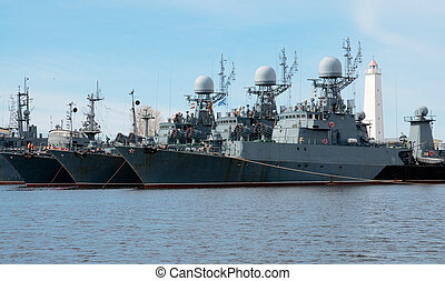 Russian navy ships in the harbour