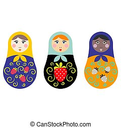 Russian nesting doll set vector illustration.