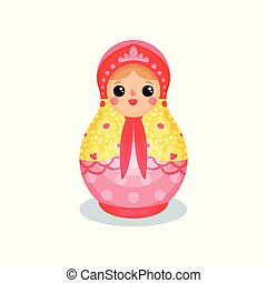 Russian nesting doll, wooden matryoshka vector Illustration on a white background