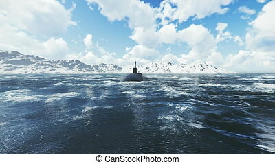 Front view of the russian ballistic missile submarine Borei at sea. Realistic three dimensional animation.