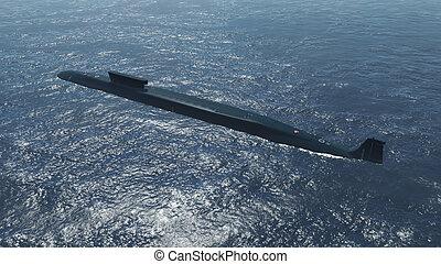 Russian nuclear submarine Borei at sea