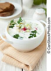 Russian okroshka with yogurt and vegetables,