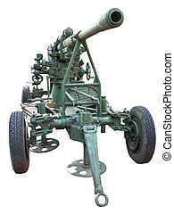 Russian old green anti-aircraft gun isolated over white...