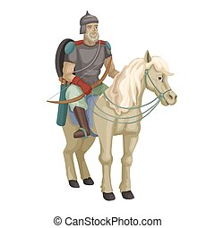 Russian old warrior with bow on horse. Vector illustration