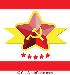 Russian or Communist flags hammer and sickle, vector illustration