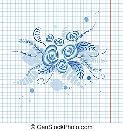 """Russian ornament """"Gzhel"""" floral background"""