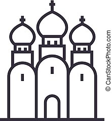 russian orthodox church vector line icon, sign, illustration...