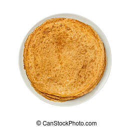 Russian pancakes isolated on the white background