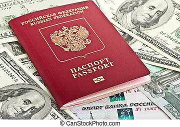Russian passport on a background of money