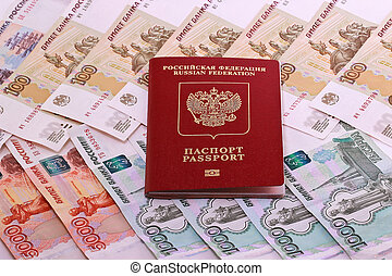 Russian passport on the background money