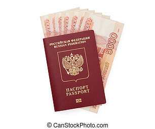 Russian passport with money isolated on white