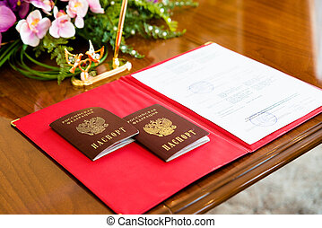 Russian passports in the registry office. - Russian...