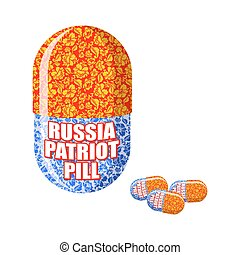 Russian patriotic pill. Capsule with national traditional ornament. Folk medicine Russian people