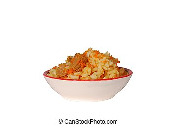 Isolated bowl Russian pilaf