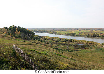 Russian Plain Landscape with a river in autumn.
