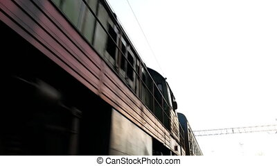 Russian railway train arrival