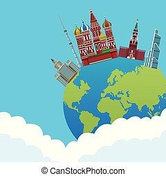 russian relevant buildings over globe saint basil...
