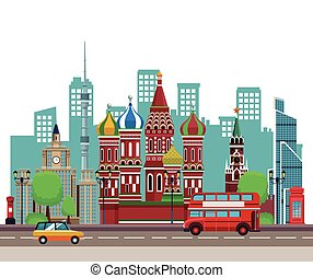 russian relevant buildings with double decker bus and taxi...