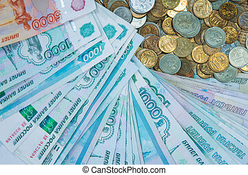 Russian rouble bills composition, different banknotes and coins
