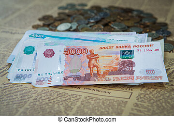 Russian rouble bills composition, different banknotes