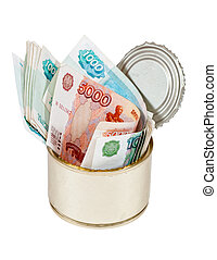 Russian roubles bills in tin can over white background